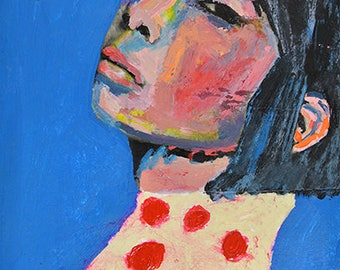 Original Acrylic Mixed Media Woman Portrait Painting. Small Painting. Blue Apartment Art. Laid Back
