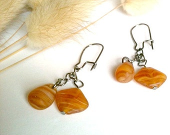 Brown Shell Dangle Earrings, Handmade Shell Earrings