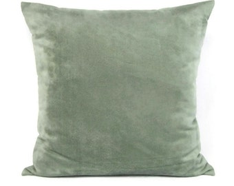 Suede Throw Pillow Cover Seafoam Sage Decorative Accent Sofa Couch 20x20 Seaglass Zipper