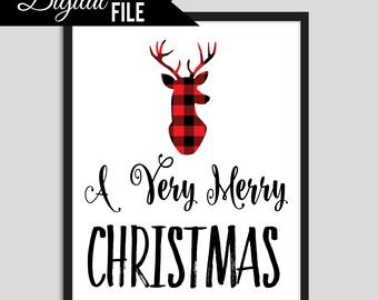 Plaid Christmas Printable, Flannel Christmas Art, Deer Printable Christmas Print, Christmas Decor, Plaid Christmas Print, 8x10 DIY Christmas