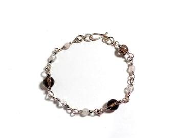 Smoky Quartz, Clear Quartz, and Rose Quartz Bracelet