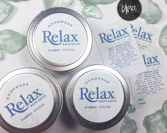 "Customizable ""Relax"" Bath Salts Labels"
