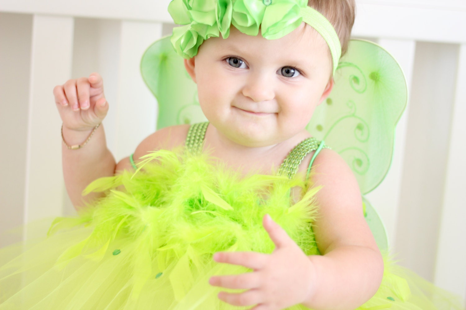 ?zoom  sc 1 st  Etsy & Adorable TinkerBell Costume Tutu Dress with Wings and Headband