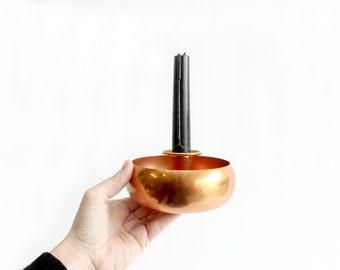 Copper Candlestick Holder, Mid Century Modern Home Decor