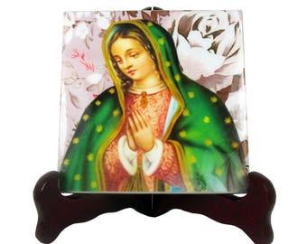 Catholic gift idea - Our Lady of Guadalupe - handmade ceramic tile art - Virgin of Guadalupe - religious art - religious icon  christian art