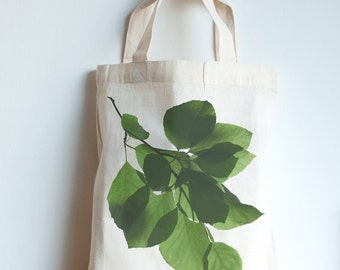 Beech leaves mini tote bag, forest print, eco friendly Fair Trade cotton bag, water based nature photography print, Nordic print
