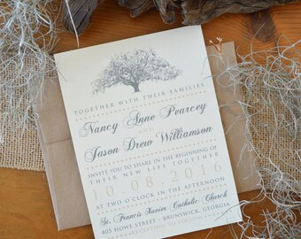 Savannah Live Oak Tree Wedding Invitations