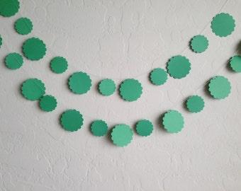 Emerald Green Scalloped Circle Garland/Banner, Party Garland, Irish Banner, Wedding Garland