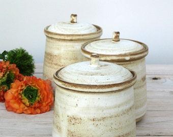 Pottery Storage Jar With Lid, White Ceramic Jar, Ceramic Container, Ceramic Salt Cellar, Sugar Jar, Rustic Jar, Pottery Lidded Jar, Handmade