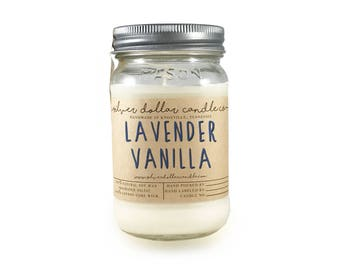 Lavender and Vanilla 16oz Scented Candle, Soy Candles, Mason Jar Candles, Birthday Gifts, Gift Idea, Gift for mom, scented candles