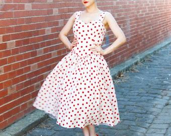 SALE Vintage 1950s Polka Dot Cotton Sundress / Polka Dot 50s Dress / Cotton Pique 50s Dress / M