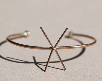 Solid Copper Cuff Bracelet with 4 Prongs Claw for Jewelry Making Supplies