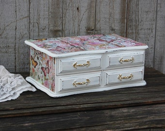 Jewelry Armoire Shabby Chic Jewelry Box Blue French