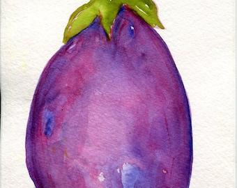 Eggplant watercolor painting, purple kitchen food art,  Purple eggplant, kitchen decor, original watercolor 4 x 6 aubergine Minimalist