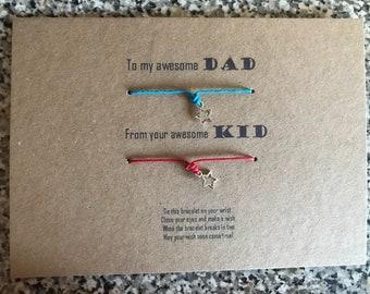 Fathers day matching wish bracelets