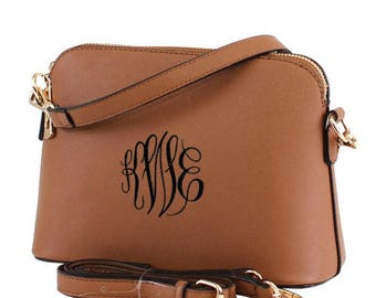 COFFEE Monogram Crossbody Bag, Leather Purse, Leather Bag, Shoulder Bag, Embroidered Purse, Preppy Cross body Bag, Vegan Leather, Gift
