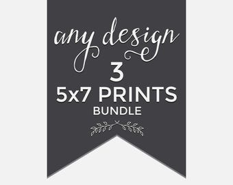 Any three designs in my shop as a set of three (3) 5x7 mailed prints