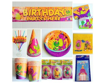 Barney Birthday Party Supplies Cups Plates Invitations Banner Straws Favor Hats Napkins Cake Topper Coloring Books ~ Barney Party Supplies