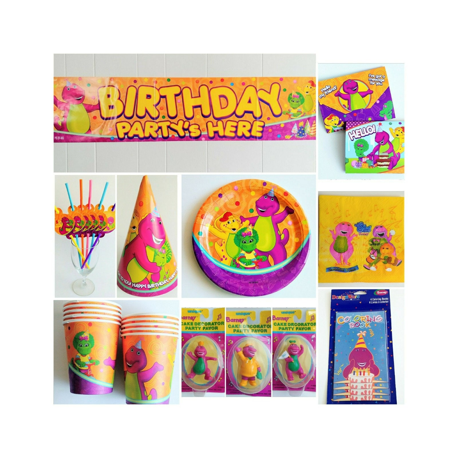 Barney birthday party supplies cups plates invitations banner description barney party supplies monicamarmolfo Images