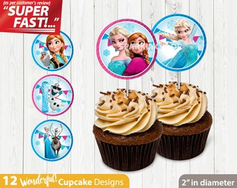 Frozen CUPCAKE TOPPERS // Frozen Birthday Cupcake Topper // 12 Cupcake Topper Designs // Printable Digital File // INSTANT Download, v1