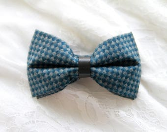 Men's Bow Tie Pre-tied Bow Tie For Men - Wool Bow Tie - Gray Grey Teal Check Bow Tie - Handmade Mens Gift Wedding Gift