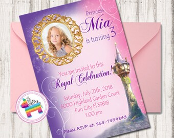 Rapunzel Invitation - Tangled Birthday Invitation - Rapunzel Photo Invite -  - Rapunzel Birthday Invitation