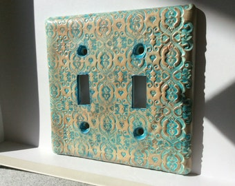 Double Switchplate in Gold and Turquoise