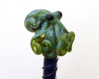 Mossy Green Glass Octopus HairStick