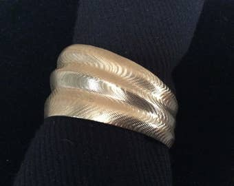 Asymmetrical Cuff Bangle with etched feature silver tone