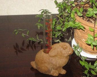 Rabbit rain gauge-brown-garden statuary