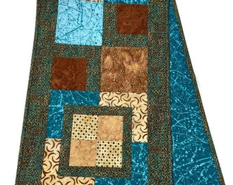 Quilted Table Runner Brown and Aqua Blue, Brown Table Runner, Aqua Blue Bureau Scarf, Brown Table Runner, LawsonCreations, Quiltsy Handmade