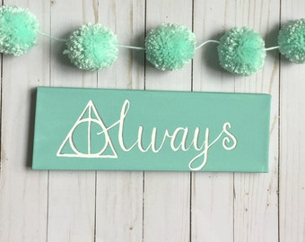 always, harry potter, home decor, bookish, jk rowling, wall art, home canvas, home wall decor, harry potter quotes, room decor, wall decor