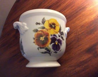 Pansy Flower pot/Utensil holder from Portugal