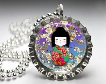 Japanese Washi Doll Images, Washi Doll Bottlecap Necklace, Bottlecap Pendant Jewelry, Free Ball Chain Necklace