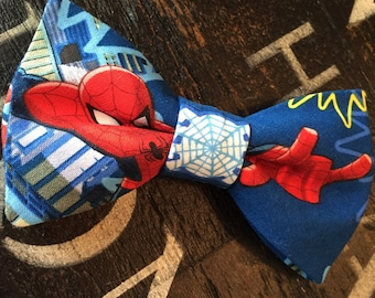 Spiderman Bow Tie, Pre-Tied, Adjustable Neckband, Available in Men's and Youth Sizes!