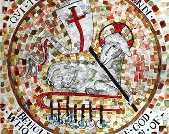 "Lamb of God Agnus Dei watercolor tile  medieval print of original handlettered painting 8 1/2"" x 11"" Resurrection Christ Easter Holy Week"