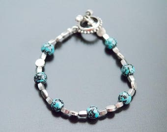 Turquoise and Silver Bracelet - Glass Beads, Splatter Paint, Teal and Black Beads, Turquoise Jewelry, Silver Bracelet, Silver Jewelry