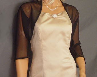 Chiffon bolero shrug jacket 3/4 sleeve trimmed wedding wrap bridal cover up CBA204 AVL IN black and 4 other colors. Small - Plus size!