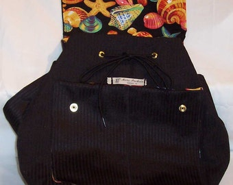 Clara Backpack in Black on Black Stripes with bright sea shell on black cotton lining