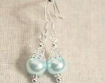 Handmade Aqua Earrings Aqua Pearl Earrings Aqua Bridesmaids Earrings Aqua Pearl Dangle Aqua Wedding Jewelry