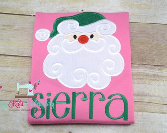 Santa applique shirt girl kid child toddler infant baby custom embroidery monogram name personalized