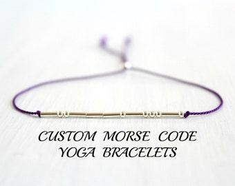 Custom Morse Code Bracelet Inspirational Minimal Yoga Jewelry Namaste Om Sterling Silver Silk Cord Bracelet