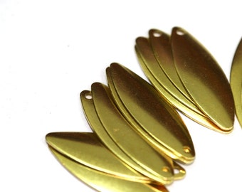 40 pcs Raw Brass 10x17 mm curved marquise 1 hole Charms ,Findings 27R-26
