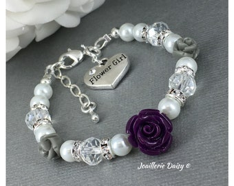 Flower Girl Gift Purple and Grey Flower Girl Jewelry Flower Girl Bracelet Purple Flower Gift for Her Wedding Gift Idea