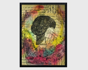 Mixed Media Watercolor Music Portrait Poster