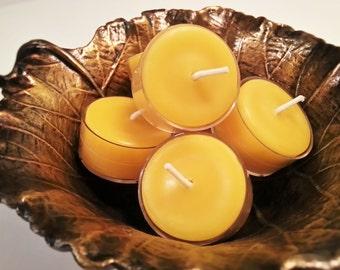 50 - 100% Pure All Natural Handmade Beeswax Tea Light Candles