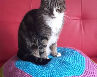 Pet bed,cat/small dog bed,floor cushion,handmade, crocheted