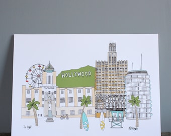 Los Angeles Print A4 - Cityscape Illustration - Los Angeles Skyline - Hollywood Print