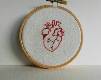 """Anatomical heart hand stitched 3"""" embroidery hoop art. Halloween decoration."""