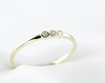 14k Yellow Gold Plated Dainty Trio Bezel Ring, Minimalist Ring, Dainty Ring, 925 Sterling Silver Ring, Minimalist Jewelry, Yellow Gold Ring